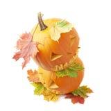 Two Jack-o'-lanterns pumpkin heads Stock Photography