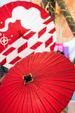 Two japanese bambo paper umbrellas, red color. Two traditional japanese bambo paper umbrellas, red color royalty free stock photography