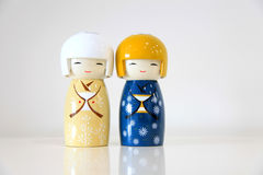 Two Japanese couple dolls Stock Photos
