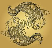 Two Japanese fish catfish on a golden gradient background. Two detailed catfish close-up on a beautiful gold gradient background. Japanese style Stock Photo