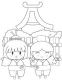 Two Japanese girls coloring page Royalty Free Stock Photos