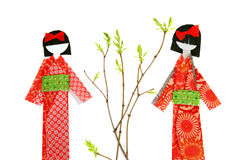 Two japanese paper doll Royalty Free Stock Images