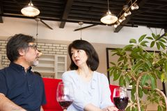 Japanese man and woman, middle-aged, talking and drinking wine royalty free stock photos