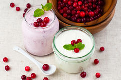Two jars of berry dessert cream Stock Image