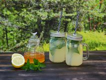 Two jars of fresh lemonade with sparkling mineral water, mint and honey. Two jars of fresh lemonade with mineral water, mint and honey, set on a dark oak table Royalty Free Stock Photos