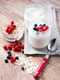 Two jars of fresh yogurt Stock Photo