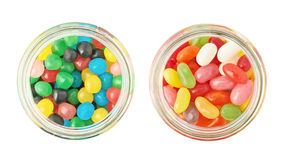 Two jars full of different kinds of candies Stock Image