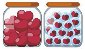 Two jars full of heart shapes stock illustration