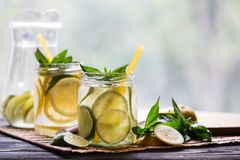 Two jars with homemade lemonade Royalty Free Stock Photo
