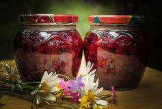 Two jars of jam collected from wild strawberries stock photos