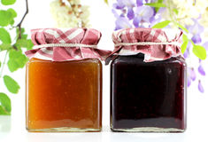 Two jars of jam Royalty Free Stock Images