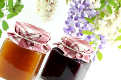 Two jars of jam, detail Royalty Free Stock Photos