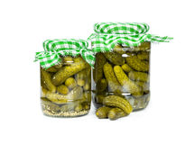 Two jars pickled cucumbers Royalty Free Stock Photography