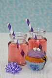 Two jars with pink lemonade Stock Photo