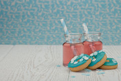 Two jars with pink lemonade Stock Images
