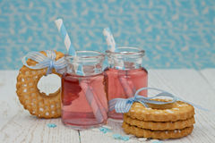 Two jars with pink lemonade Stock Photography