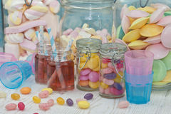 Two jars with pink lemonade Royalty Free Stock Image