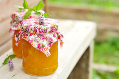 Two Jars of Pumpkin Jam on a Bench, copy space for your text Royalty Free Stock Photography