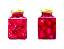 Two jars of tasty jams from different berries. Watercolor illustration isolated on white background royalty free stock image