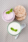 Two jars of yogurt cream Royalty Free Stock Photography