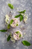 Two jars with yogurt royalty free stock photo
