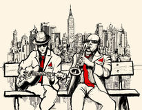 Two jazz men playing in New York Royalty Free Stock Image