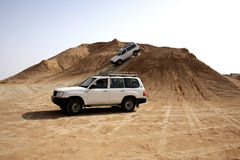 Two jeep in desert. Two jeep car in Tunisia stone desert Stock Photography