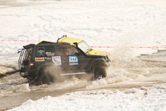 Two jeeps collided in the water at the races Royalty Free Stock Image