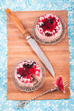 Two Jelly cake on wooden Stock Images