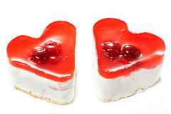 Two jelly heart-shaped cakes Stock Images