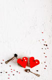Two jelly heart-shaped cakes on white concrete background. Free space for your text. Royalty Free Stock Photos
