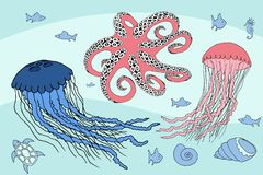 Two jellyfish, octopus and sea beasts marine life royalty free illustration