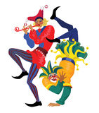 Two jester. Vector  illustration of dancing two jester in colorful suits Royalty Free Stock Images
