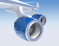 Two Jet turbofan engines  on blue background. Jet turbofan engines with blue color paint isolated on blue sky Stock Photography