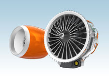 Two Jet turbofan engines  on blue background. Stock Photos