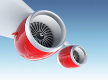 Two Jet turbofan engines  on blue background. Jet turbofan engines with red color paint isolated on blue sky Royalty Free Stock Photos