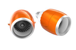 Two Jet turbofan engines with orange cowl isolated on white background. Royalty Free Stock Image