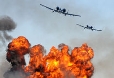 Two jetfighter attacking Royalty Free Stock Photography