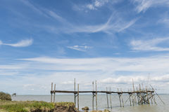 Two Jetties for fishing in Gironde Royalty Free Stock Image