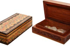 Two jewel boxes. Two wooden jewel boxes, isolated on white Stock Images