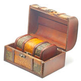 Two jewelry boxes. A small jewelry box into a big opened box Royalty Free Stock Images