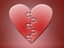 Two jigsaw heart halves Stock Images