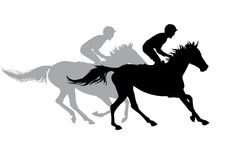 Two jockeys riding horses. Horse races. Competition. Silhouettes on a white background Stock Photography