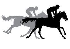 Two jockeys riding horses. Horse races. Competition. Silhouettes on a white background Stock Photos