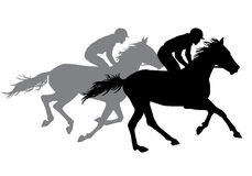 Two jockeys riding horses. Horse races. Competition. Silhouettes on a white background Stock Images