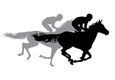 Two jockeys riding horses. Horse races. Competition. Silhouettes on a white background Royalty Free Stock Photo