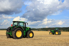 Two John Deere Tractors on display Royalty Free Stock Images