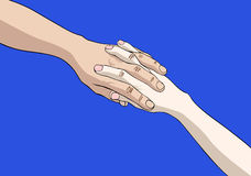 Two joined hands. Isolated on blue background Royalty Free Stock Photo