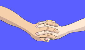 Two joined hands. Isolated on blue background Stock Images