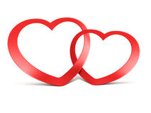 Two joined red hearts on white Stock Photography